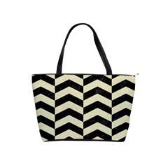 Chevron2 Black Marble & Beige Linen Shoulder Handbags by trendistuff