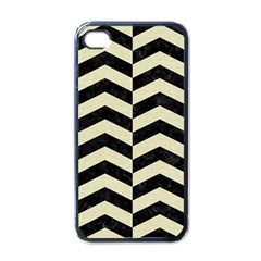 Chevron2 Black Marble & Beige Linen Apple Iphone 4 Case (black) by trendistuff