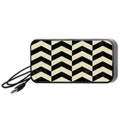 Chevron2 Black Marble & Beige Linen Portable Speaker (black) by trendistuff