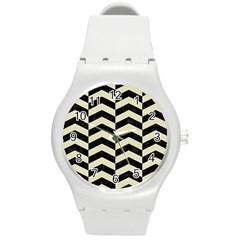 Chevron2 Black Marble & Beige Linen Round Plastic Sport Watch (m) by trendistuff