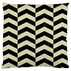 Chevron2 Black Marble & Beige Linen Large Cushion Case (one Side) by trendistuff