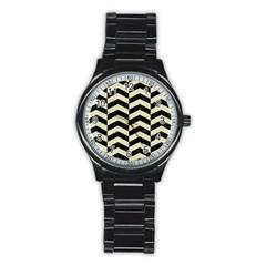 Chevron2 Black Marble & Beige Linen Stainless Steel Round Watch by trendistuff
