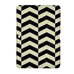 Chevron2 Black Marble & Beige Linen Samsung Galaxy Tab 2 (10 1 ) P5100 Hardshell Case  by trendistuff