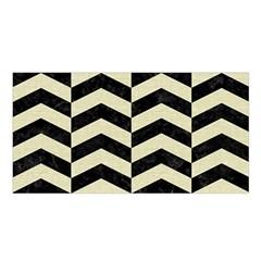 Chevron2 Black Marble & Beige Linen Satin Shawl by trendistuff