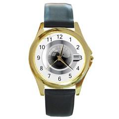 White Washing Machine Round Gold Metal Watch by BangZart