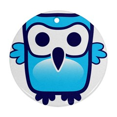 Owl Logo Clip Art Round Ornament (two Sides) by BangZart