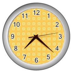 Yellow Pattern Background Texture Wall Clocks (silver)  by BangZart