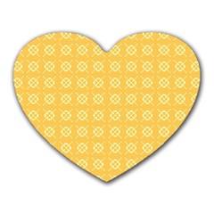 Yellow Pattern Background Texture Heart Mousepads by BangZart