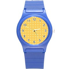 Yellow Pattern Background Texture Round Plastic Sport Watch (s) by BangZart