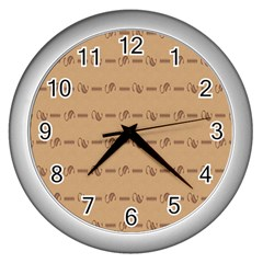Brown Pattern Background Texture Wall Clocks (silver)  by BangZart