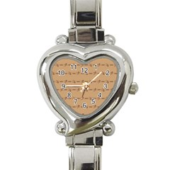 Brown Pattern Background Texture Heart Italian Charm Watch by BangZart