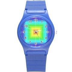 Square Rainbow Pattern Box Round Plastic Sport Watch (s) by BangZart