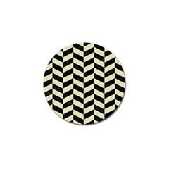 Chevron1 Black Marble & Beige Linen Golf Ball Marker (4 Pack) by trendistuff