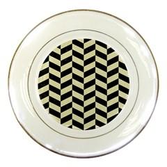 Chevron1 Black Marble & Beige Linen Porcelain Plates by trendistuff