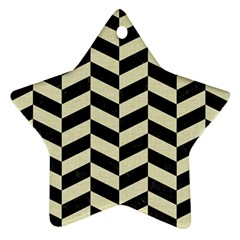 Chevron1 Black Marble & Beige Linen Star Ornament (two Sides) by trendistuff