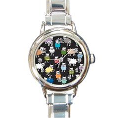 Sheep Cartoon Colorful Black Pink Round Italian Charm Watch by BangZart