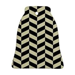 Chevron1 Black Marble & Beige Linen Bell Ornament (two Sides) by trendistuff