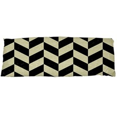 Chevron1 Black Marble & Beige Linen Body Pillow Case Dakimakura (two Sides) by trendistuff