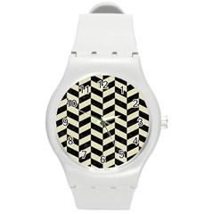 Chevron1 Black Marble & Beige Linen Round Plastic Sport Watch (m) by trendistuff
