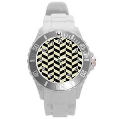 Chevron1 Black Marble & Beige Linen Round Plastic Sport Watch (l) by trendistuff