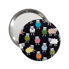 Sheep Cartoon Colorful Black Pink 2 25  Handbag Mirrors by BangZart