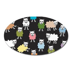 Sheep Cartoon Colorful Black Pink Oval Magnet by BangZart