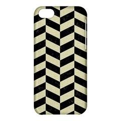 Chevron1 Black Marble & Beige Linen Apple Iphone 5c Hardshell Case by trendistuff
