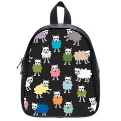 Sheep Cartoon Colorful Black Pink School Bags (small)  by BangZart