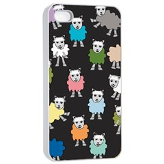 Sheep Cartoon Colorful Black Pink Apple Iphone 4/4s Seamless Case (white) by BangZart