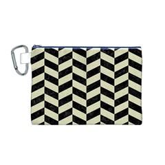 Chevron1 Black Marble & Beige Linen Canvas Cosmetic Bag (m) by trendistuff