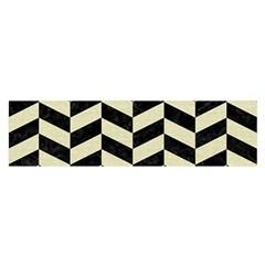 Chevron1 Black Marble & Beige Linen Satin Scarf (oblong) by trendistuff