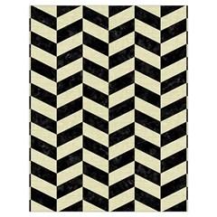 Chevron1 Black Marble & Beige Linen Drawstring Bag (large) by trendistuff