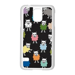 Sheep Cartoon Colorful Black Pink Samsung Galaxy S5 Case (white) by BangZart