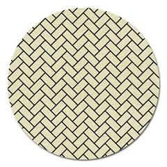 Brick2 Black Marble & Beige Linen (r) Magnet 5  (round) by trendistuff