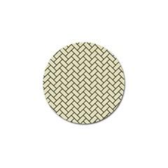 Brick2 Black Marble & Beige Linen (r) Golf Ball Marker by trendistuff