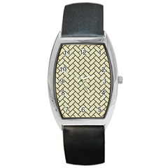 Brick2 Black Marble & Beige Linen (r) Barrel Style Metal Watch by trendistuff