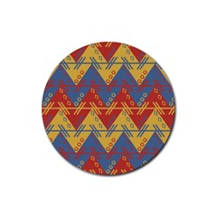 Aztec South American Pattern Zig Rubber Round Coaster (4 Pack)  by BangZart