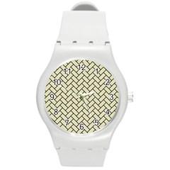 Brick2 Black Marble & Beige Linen (r) Round Plastic Sport Watch (m) by trendistuff