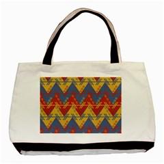 Aztec South American Pattern Zig Basic Tote Bag by BangZart