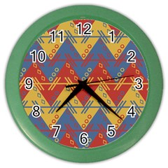 Aztec South American Pattern Zig Color Wall Clocks by BangZart