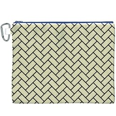 Brick2 Black Marble & Beige Linen (r) Canvas Cosmetic Bag (xxxl) by trendistuff