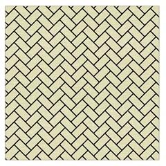 Brick2 Black Marble & Beige Linen (r) Large Satin Scarf (square) by trendistuff