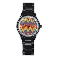 Aztec South American Pattern Zig Stainless Steel Round Watch by BangZart