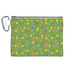 Balloon Grass Party Green Purple Canvas Cosmetic Bag (xl) by BangZart