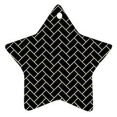 Brick2 Black Marble & Beige Linen Ornament (star) by trendistuff