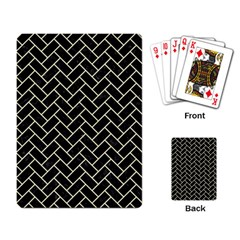 Brick2 Black Marble & Beige Linen Playing Card by trendistuff