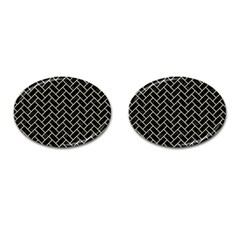 Brick2 Black Marble & Beige Linen Cufflinks (oval) by trendistuff