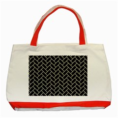 Brick2 Black Marble & Beige Linen Classic Tote Bag (red) by trendistuff