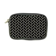Brick2 Black Marble & Beige Linen Coin Purse by trendistuff