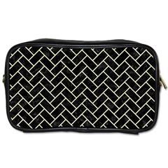 Brick2 Black Marble & Beige Linen Toiletries Bags by trendistuff